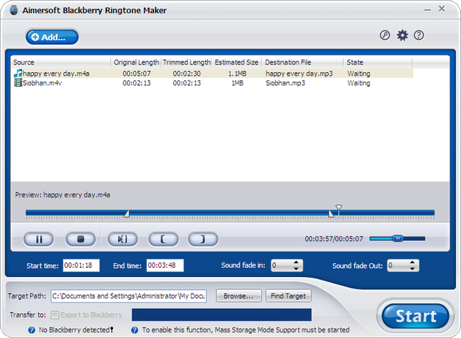 Aimersoft Blackberry Ringtone Maker Screenshot