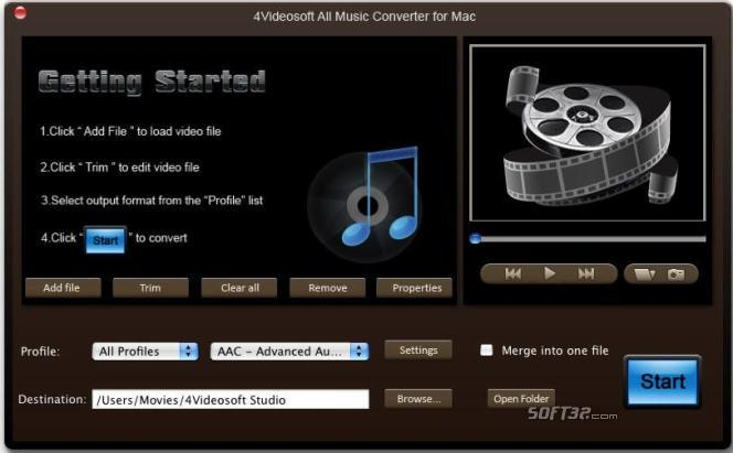 4Videosoft All Music Converter for Mac Screenshot 2