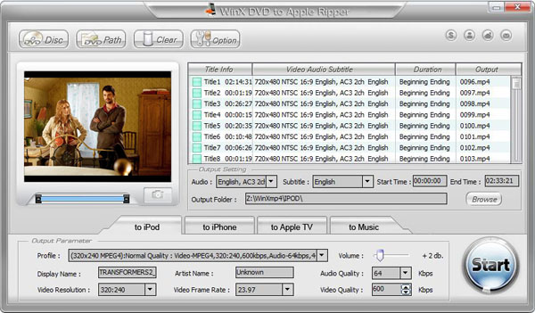 WinX DVD to Apple Ripper Screenshot