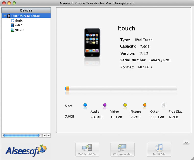 Aiseesoft iPhone Transfer for Mac Screenshot 2