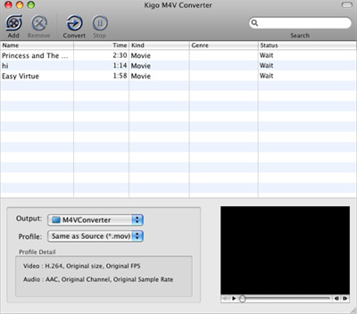 Kigo M4V Converter for Mac Screenshot