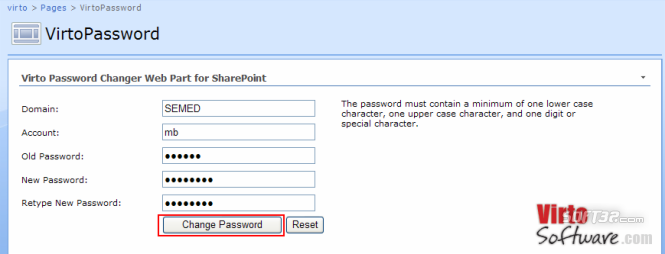 Virto Password Change SharePoint Webpart Screenshot 2