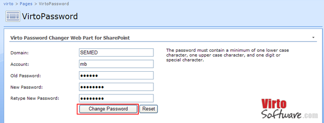 Virto Password Change SharePoint Webpart Screenshot