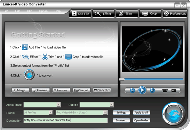 Emicsoft Video Converter Screenshot