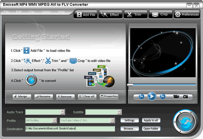 Emicsoft MP4 WMV MPEG AVI to FLV Converter Screenshot