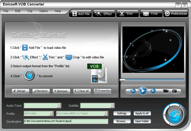 Emicsoft VOB Converter Screenshot