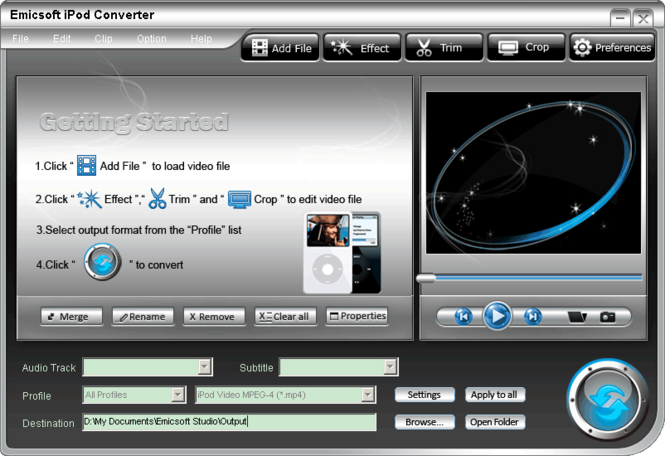 Emicsoft iPod Converter Screenshot