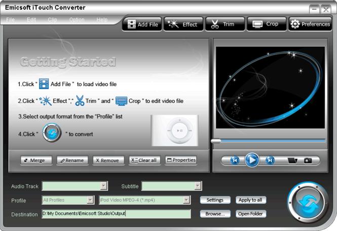 Emicsoft iTouch Converter Screenshot 1