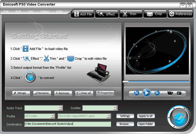 Emicsoft PS3 Video Converter Screenshot 1