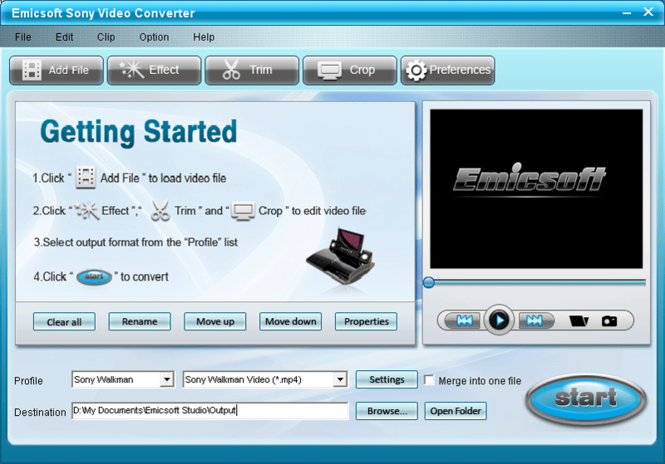 Emicsoft Sony Video Converter Screenshot