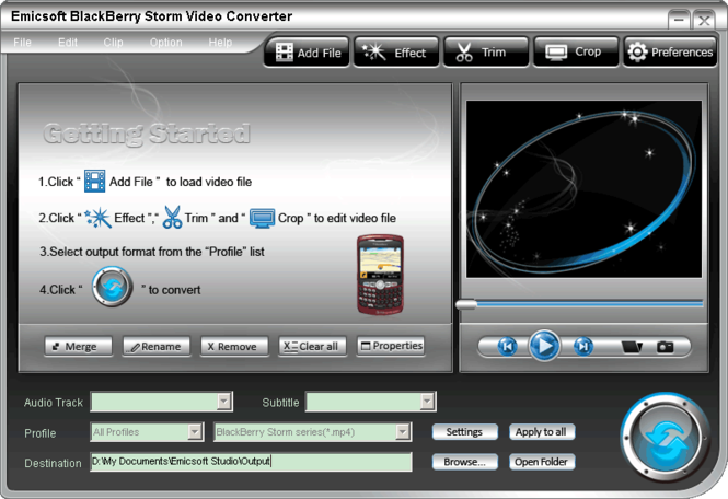 Emicsoft BlackBerry Storm Video Converter Screenshot 1
