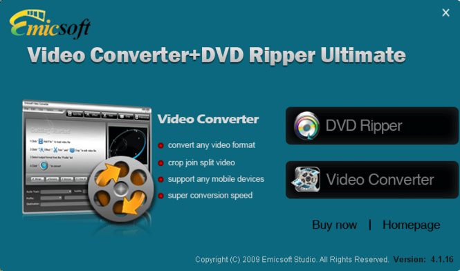 Emicsoft Video Converter + DVD Ripper Ultimate Screenshot