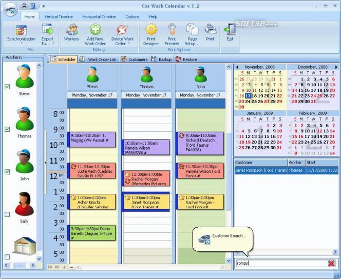 Car Wash Calendar for Workgroup Screenshot 2