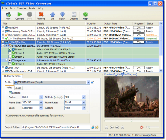 eTeSoft PSP Video Converter Screenshot