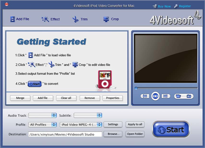 4Videosoft iPod Video Converter for Mac Screenshot
