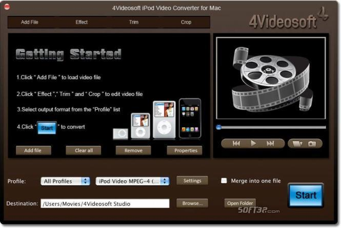 4Videosoft iPod Video Converter for Mac Screenshot 2