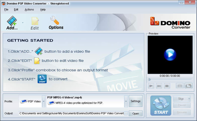 Domino PSP Video Converter Screenshot