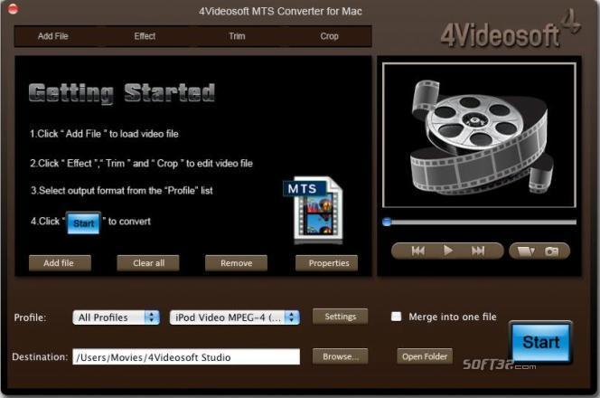 4Videosoft MTS Converter for Mac Screenshot 2