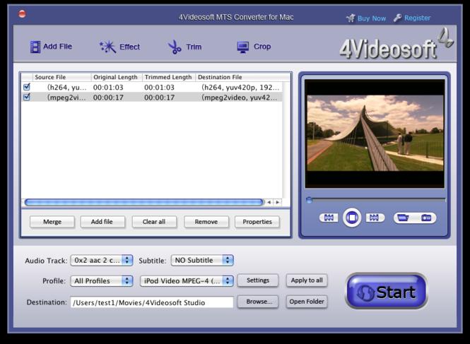 4Videosoft MTS Converter for Mac Screenshot 3