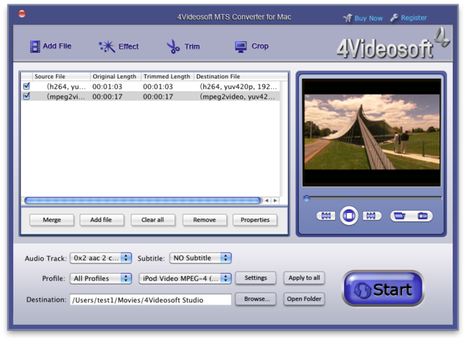 4Videosoft MTS Converter for Mac Screenshot