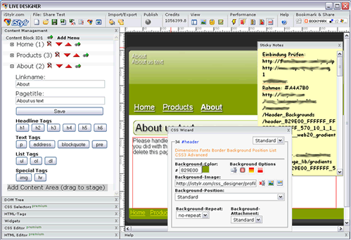 WYSIWYG CSS and HTML Editor Screenshot 1