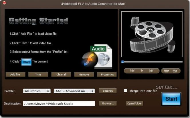 4Videosoft Mac FLV to Audio Converter Screenshot 3