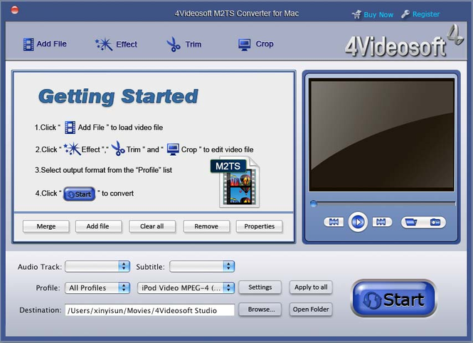 4Videosoft M2TS Converter for Mac Screenshot