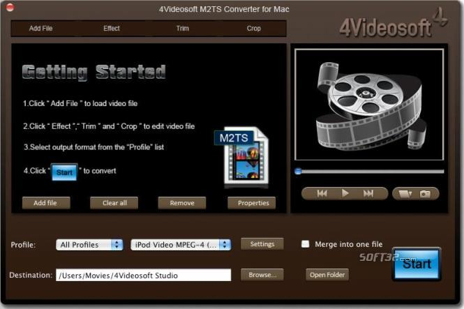 4Videosoft M2TS Converter for Mac Screenshot 3