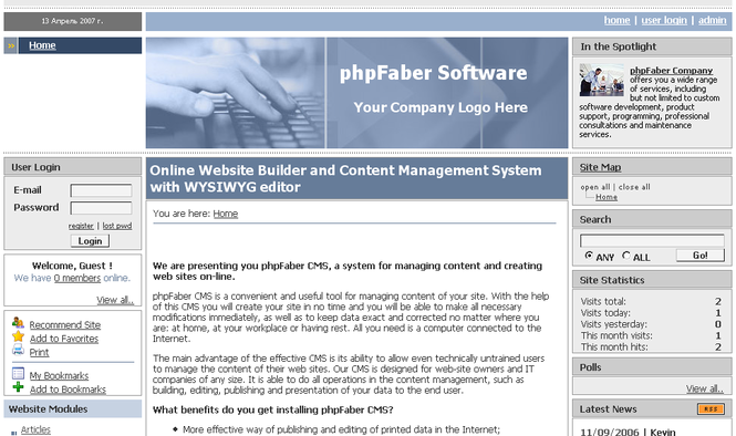 PHPFABER Online Website Builder and CMS Screenshot 1