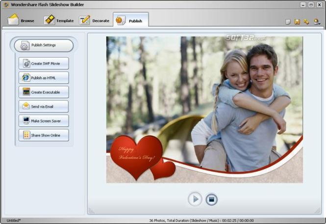 Wondershare Flash Slideshow Builder Screenshot 1