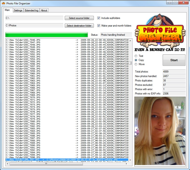 Photo File Organizer Screenshot
