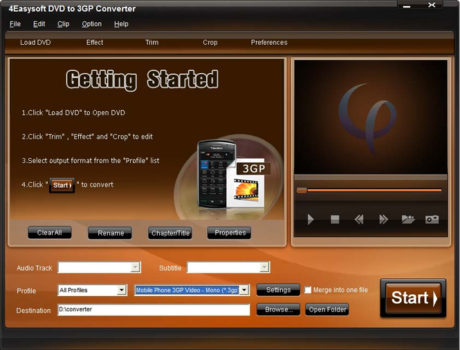 4Easysoft DVD to 3GP Converter Screenshot