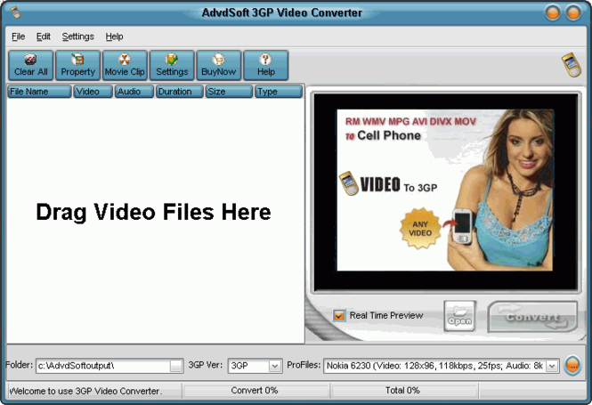 AdvdSoft 3GP Video Converter Screenshot