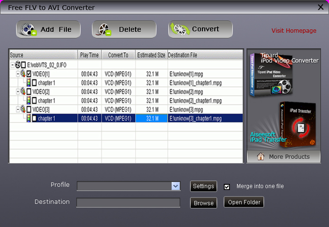 Free FLV to AVI Converter Screenshot