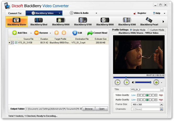 Dicsoft BlackBerry Video Converter Screenshot 1