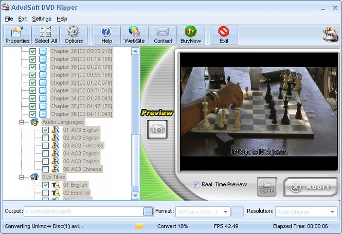 AdvdSoft DVD Ripper Screenshot