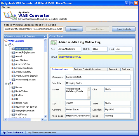 WAB to Outlook Screenshot