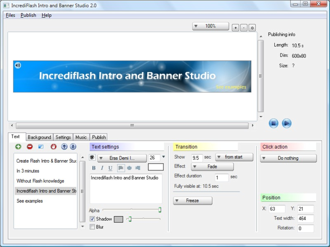 IncrediFlash Intro and Banner Studio Screenshot 1