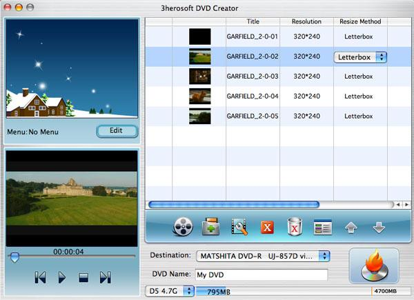 3herosoft DVD Creator for Mac Screenshot