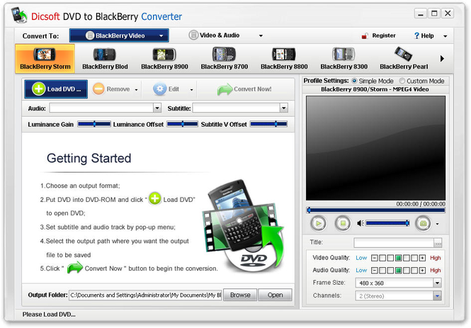 Dicsoft DVD to BlackBerry Converter Screenshot