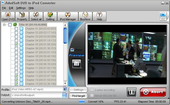 AdvdSoft DVD to iPod Converter Screenshot 1