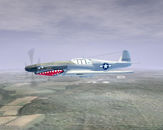 3D Flying P-51C Mustang Screensaver Screenshot 1