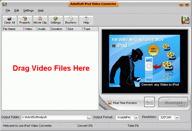 AdvdSoft iPod Video Converter Screenshot
