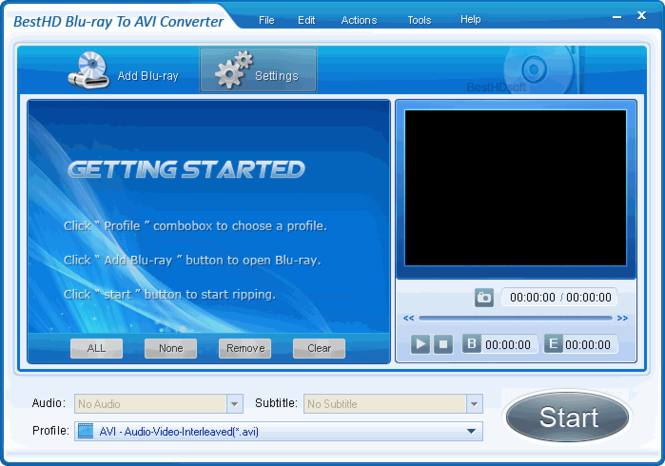BestHD Blu-Ray to AVI Converter Screenshot 2