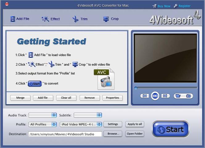 4Videosoft AVC Converter for Mac Screenshot 2