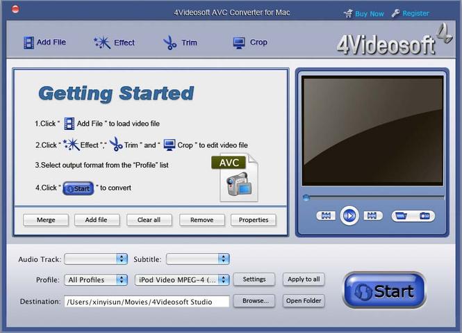 4Videosoft AVC Converter for Mac Screenshot 1