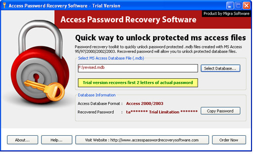Access File Password Recovery Screenshot 1