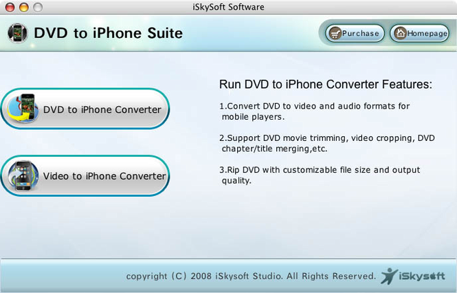 iSkysoft DVD to iPhone Suite for Mac Screenshot