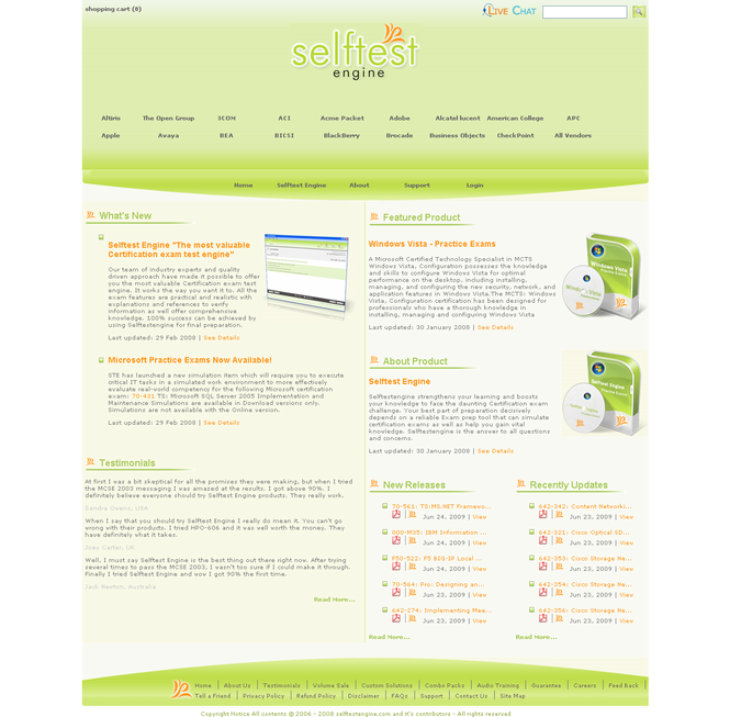 642-162 practice exam Selftest Engine Screenshot 1