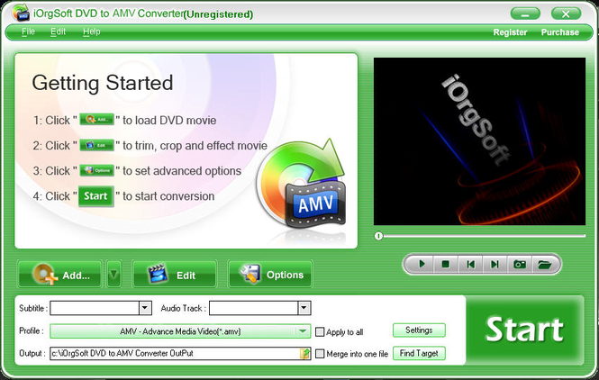 iOrgSoft DVD to AMV Converter Screenshot
